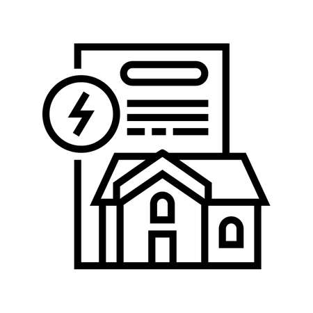 house electricity contract line icon vector. house electricity contract sign. isolated contour symbol black illustration