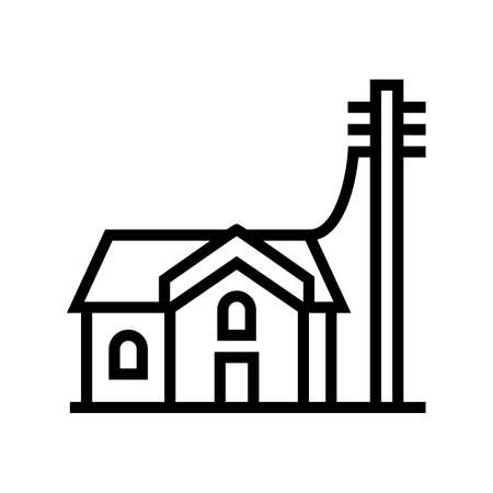 house connected to electricity line icon vector. house connected to electricity sign. isolated contour symbol black illustration Çizim