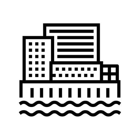 city port line icon vector. city port sign. isolated contour symbol black illustration