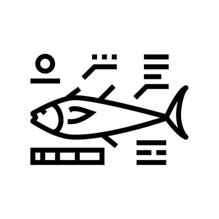 tuna fish characteristics line icon vector. tuna fish characteristics sign. isolated contour symbol black illustration