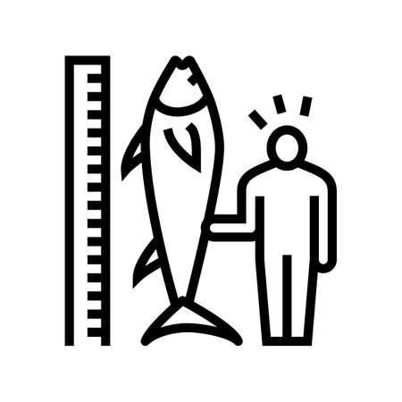 tuna size and fisherman line icon vector. tuna size and fisherman sign. isolated contour symbol black illustration