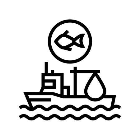 fishing ship line icon vector. fishing ship sign. isolated contour symbol black illustration