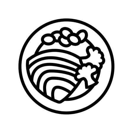tuna fish dish with vegetables line icon vector. tuna fish dish with vegetables sign. isolated contour symbol black illustration