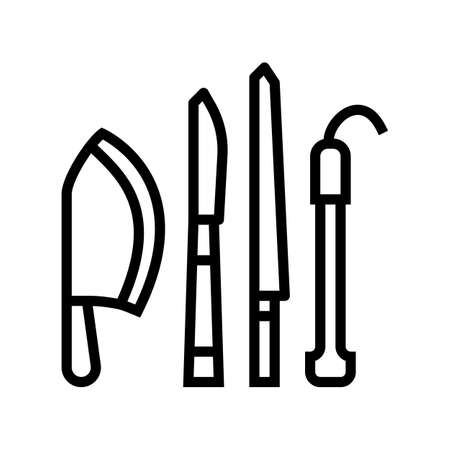 knives kitchen utensil line icon vector. knives kitchen utensil sign. isolated contour symbol black illustration