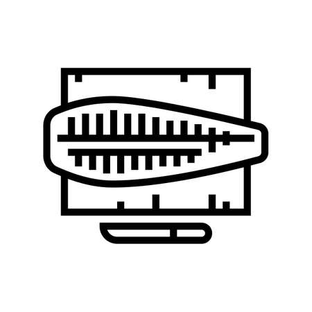 butchering tuna fish line icon vector. butchering tuna fish sign. isolated contour symbol black illustration