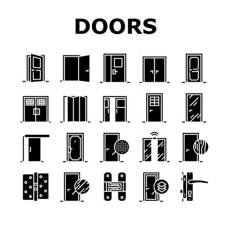 Interior Doors Types Collection Icons Set Vector. Swing, Sliding And Folding Doors, Veneer And Medium Density Fibreboard, Wooden And Metal Material Glyph Pictograms Black Illustrations