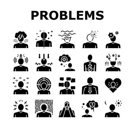 Psychological Problems Collection Icons Set Vector. Depression And Bipolar Disorder, Schizophrenia And Dementia, Autism And Stress Problems Glyph Pictograms Black Illustrations