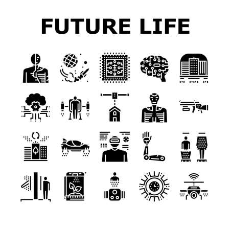 Future Life Devices Collection Icons Set Vector. Flying City And Car, Human Fly Gadget And Drone Wifi, Ai Brain And Chip, Robot And Teleport Glyph Pictograms Black Illustrations