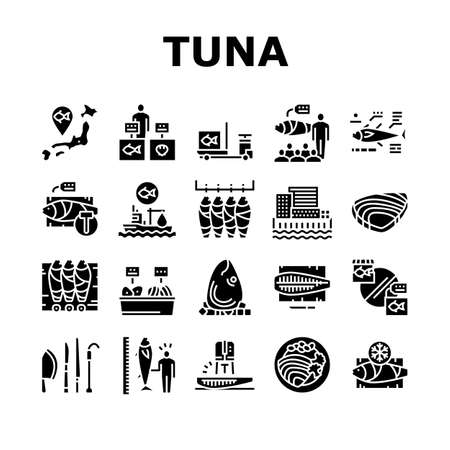 Tuna Auction Tsukiji Market Collection Icons Set Vector. Tuna Fishing And Delivery, Fish Meat And Fillet, Fisherman And Seller, Sale And Buy Glyph Pictograms Black Illustrations
