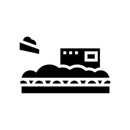 wood chips add on conveyor glyph icon vector. wood chips add on conveyor sign. isolated contour symbol black illustration