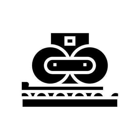 paper pressing system glyph icon vector. paper pressing system sign. isolated contour symbol black illustration