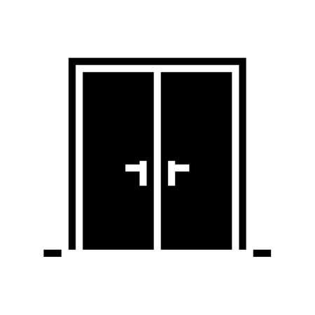 double wooden door glyph icon vector. double wooden door sign. isolated contour symbol black illustration