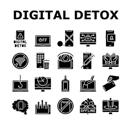 Digital Device Detox Collection Icons Set Vector. Wifi And Smartphone Crossed Out Mark, Off Screen Laptop And Phone Screen Gadget Technology Detox Glyph Pictograms Black Illustrations