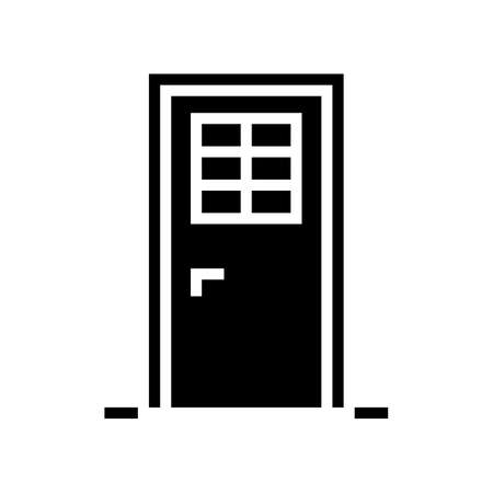door with window glyph icon vector. door with window sign. isolated contour symbol black illustration