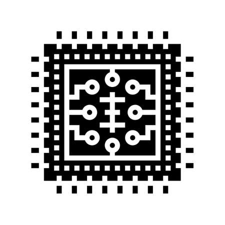 micro chip glyph icon vector. micro chip sign. isolated contour symbol black illustration