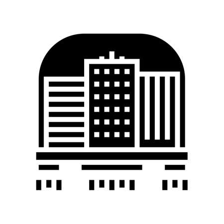 city flying glyph icon vector. city flying sign. isolated contour symbol black illustration