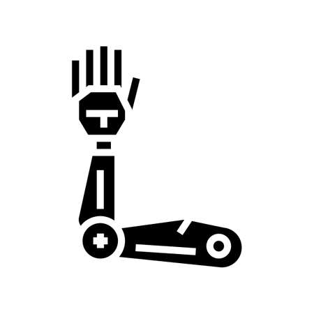 robotic arm glyph icon vector. robotic arm sign. isolated contour symbol black illustration