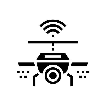 drone with wifi and camera glyph icon vector. drone with wifi and camera sign. isolated contour symbol black illustration