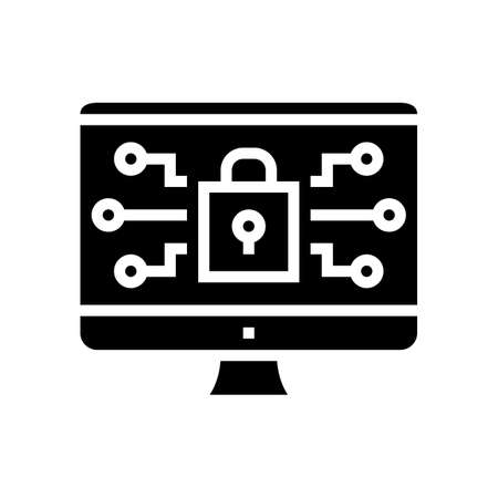 computer security glyph icon vector. computer security sign. isolated contour symbol black illustration
