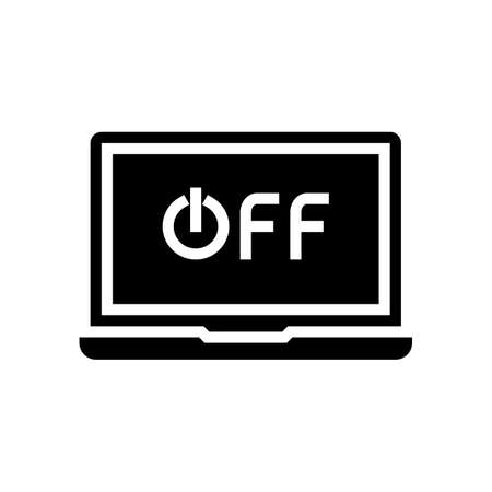 off laptop glyph icon vector. off laptop sign. isolated contour symbol black illustration Çizim