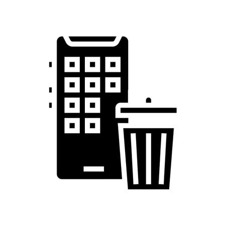 mobile phone trash bin glyph icon vector. mobile phone trash bin sign. isolated contour symbol black illustration