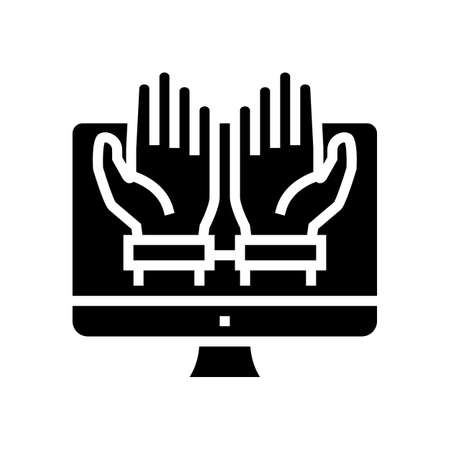 computer addiction glyph icon vector. computer addiction sign. isolated contour symbol black illustration Çizim