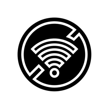 wifi crossed out mark glyph icon vector. wifi crossed out mark sign. isolated contour symbol black illustration Çizim
