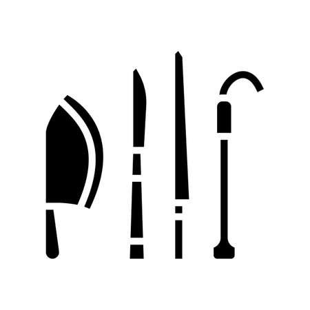knives kitchen utensil glyph icon vector. knives kitchen utensil sign. isolated contour symbol black illustration