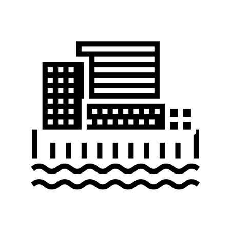 city port glyph icon vector. city port sign. isolated contour symbol black illustration