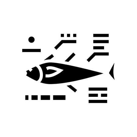 tuna fish characteristics glyph icon vector. tuna fish characteristics sign. isolated contour symbol black illustration 向量圖像