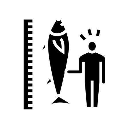 tuna size and fisherman glyph icon vector. tuna size and fisherman sign. isolated contour symbol black illustration