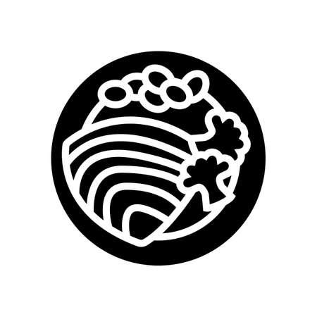 tuna fish dish with vegetables glyph icon vector. tuna fish dish with vegetables sign. isolated contour symbol black illustration