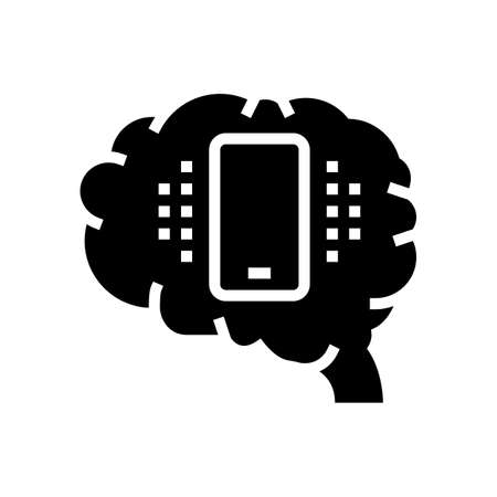 mobile phone brain glyph icon vector. mobile phone brain sign. isolated contour symbol black illustration Çizim
