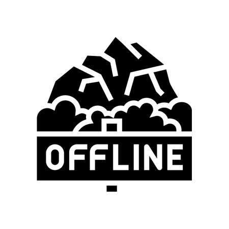 offline mountain travel glyph icon vector. offline mountain travel sign. isolated contour symbol black illustration Çizim