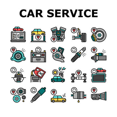 Car Service Garage Collection Icons. Car Service Repair Ball Joint And Turbine, Electrical Equipment And Gearbox, Suspension And Starter Color Contour Illustrations