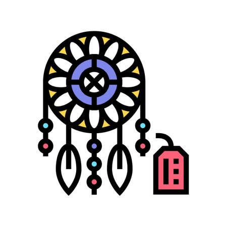 weaving dream cathcer handmade color icon vector. weaving dream cathcer handmade sign. isolated symbol illustration