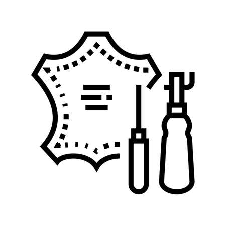 leatherworking material line icon vector. leatherworking material sign. isolated contour symbol black illustration