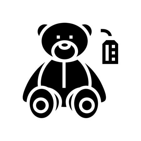 craft toy bear glyph icon vector. craft toy bear sign. isolated contour symbol black illustration  イラスト・ベクター素材