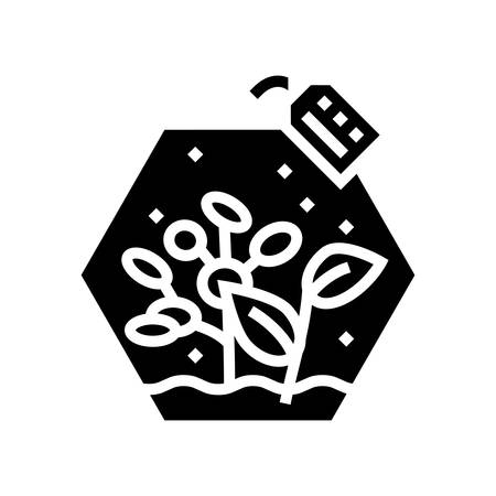 growing plants glyph icon vector. growing plants sign. isolated contour symbol black illustration  イラスト・ベクター素材