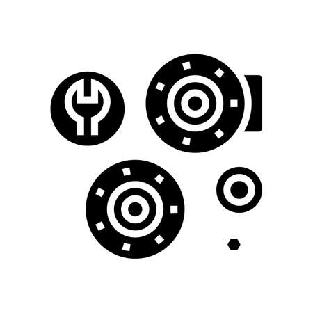 bearing replacement glyph icon vector. bearing replacement sign. isolated contour symbol black illustration Ilustración de vector