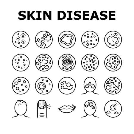 Skin Disease Symptom Collection Icons Set Vector. Skin Cancer And Acne, Vitiligo And Bruise, Eczema And Chronic Blistering, Herpes And Mycosis Black Contour Illustrations Ilustrace