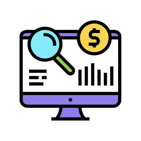 finance research color icon vector. finance research sign. isolated symbol illustration