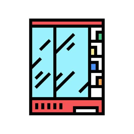 supermarket refrigerator color icon vector. supermarket refrigerator sign. isolated symbol illustration Vectores
