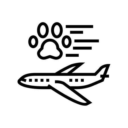 pet transportation in airplane line icon vector. pet transportation in airplane sign. isolated contour symbol black illustration