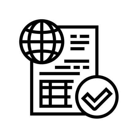 permission for international carriage of pet line icon vector. permission for international carriage of pet sign. isolated contour symbol black illustration Vektoros illusztráció