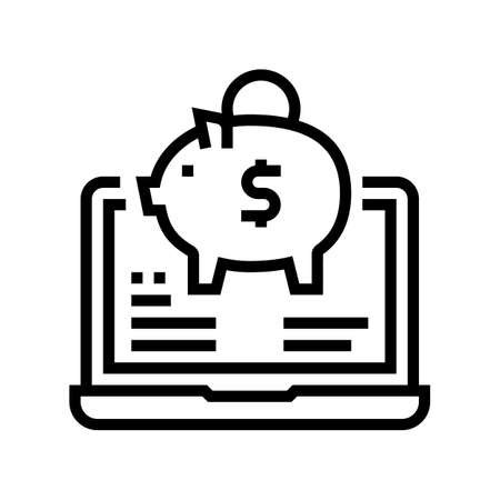 internet money box line icon vector. internet money box sign. isolated contour symbol black illustration