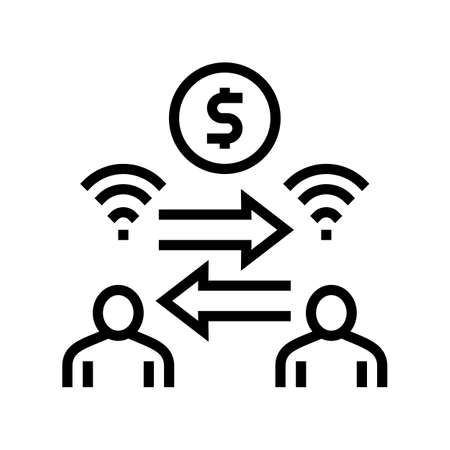 money exchange among bank users line icon vector. money exchange among bank users sign. isolated contour symbol black illustration