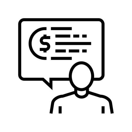 human talking about money line icon vector. human talking about money sign. isolated contour symbol black illustration