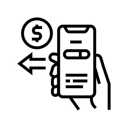 pay phone app line icon vector. pay phone app sign. isolated contour symbol black illustration