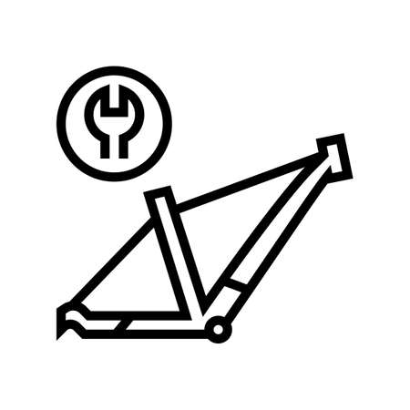 bicycle frame repair line icon vector. bicycle frame repair sign. isolated contour symbol black illustration